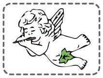 Tarjeta de felicitación de las tarjetas del día de San Valentín del St, ángel que juega el fife, vector libre illustration