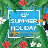 Tarjeta de felicitación de las vacaciones de verano con la selva de la planta tropical y el pájaro del tucán del toco Foto de archivo