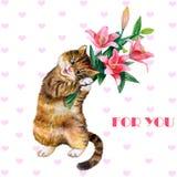 Tarjeta de felicitación linda de la acuarela con el gato y las flores Gatito precioso con los lirios Ideal para el día de tarjeta Foto de archivo libre de regalías