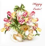 Tarjeta de felicitación linda de Pascua con la cesta llena de tulipanes realistas ilustración del vector