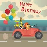Tarjeta de felicitación linda del feliz cumpleaños para el Th del estilo de la historieta de la diversión del niño Imagen de archivo