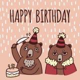 Tarjeta de felicitación linda del feliz cumpleaños, vector dibujado mano Imágenes de archivo libres de regalías