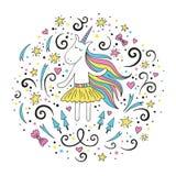 Tarjeta de felicitación linda del garabato con unicornio Libre Illustration