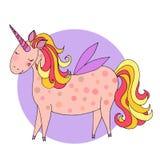 Tarjeta de felicitación linda del unicornio Imágenes de archivo libres de regalías
