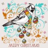 Tarjeta de felicitación linda del vector de la Navidad con el pájaro libre illustration