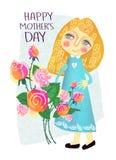 Tarjeta de felicitación linda para el día feliz del ` s de la madre libre illustration