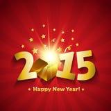 Tarjeta de felicitación mágica abierta del regalo de la Feliz Año Nuevo 2015 Imágenes de archivo libres de regalías