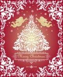 Tarjeta de felicitación mágica de la Navidad del vintage con el árbol blanco floral cortado de Navidad, ángeles del oro y el marc stock de ilustración