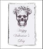Tarjeta de felicitación a mano para el día de tarjeta del día de San Valentín con las rosas y el cráneo libre illustration