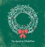 Tarjeta de felicitación manuscrita del día de fiesta de la guirnalda de la Navidad de la nube de la palabra Imágenes de archivo libres de regalías