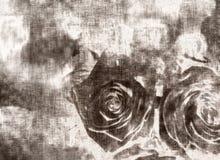 Tarjeta de felicitación metálica de plata, tarjeta del día de tarjeta del día de San Valentín con las rosas Foto de archivo libre de regalías