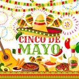 Tarjeta de felicitación mexicana del vector de la fiesta de Cinco de Mayo