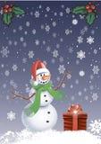 Tarjeta de felicitación - muñeco de nieve con copos de nieve Fotos de archivo