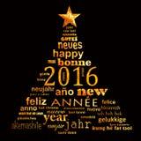 tarjeta de felicitación multilingüe de la nube de la palabra del texto del Año Nuevo 2016 Imagen de archivo