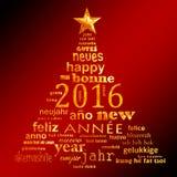 tarjeta de felicitación multilingüe de la nube de la palabra del texto del Año Nuevo 2016 Fotografía de archivo libre de regalías