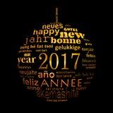 tarjeta de felicitación multilingüe de la nube de la palabra del texto del Año Nuevo 2017, forma de una bola de la Navidad Imagen de archivo libre de regalías