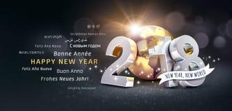 Tarjeta de felicitación mundial de la Feliz Año Nuevo 2018 Imagen de archivo libre de regalías