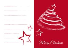 Tarjeta de felicitación de Navidad con los campos y el árbol de abeto en blanco stock de ilustración
