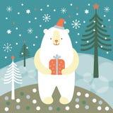 Tarjeta de felicitación, tarjeta de Navidad con un oso polar Imagenes de archivo