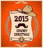 Tarjeta de felicitación occidental del Año Nuevo con la voluta Imagen de archivo libre de regalías