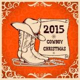 Tarjeta de felicitación occidental del Año Nuevo con los objetos tradicionales del vaquero Foto de archivo libre de regalías