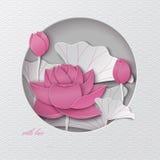 Tarjeta de felicitación oriental del modelo con el marco redondo del corte y fondo floral con la decoración rosada de las flores  Imagen de archivo libre de regalías