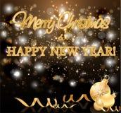 Tarjeta de felicitación de oro del Año Nuevo de los días de fiesta, vector Stock de ilustración