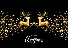 Tarjeta de felicitación de oro de la Navidad con el reno, la llamarada y el glowin ilustración del vector
