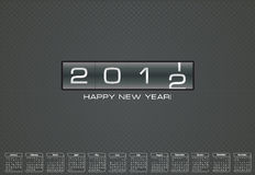 Tarjeta de felicitación para 2012 con el calendario de la prima Fotos de archivo libres de regalías