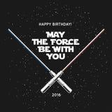 Tarjeta de felicitación para el cumpleaños con las espadas cruzadas y cita del laser Mayo la fuerza esté con usted Ejemplo del ve libre illustration