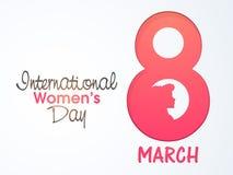 Tarjeta de felicitación para el día de las mujeres internacionales stock de ilustración