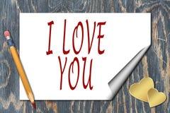 Tarjeta de felicitación para el día de tarjeta del día de San Valentín Imagenes de archivo