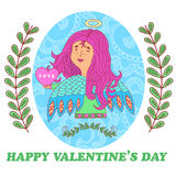 Tarjeta de felicitación para el día de tarjetas del día de San Valentín con una muchacha dulce del ángel stock de ilustración