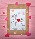 Tarjeta de felicitación para el día del `s de la tarjeta del día de San Valentín Momentos felices imagen de archivo