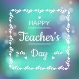 Tarjeta de felicitación para el día feliz de los profesores El fondo y el texto abstractos en marco cuadrado en vector dan format ilustración del vector