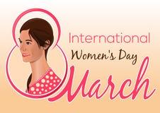 Tarjeta de felicitación para el día para mujer internacional Muchacha preciosa en el fondo de la enhorabuena el 8 de marzo ilustración del vector
