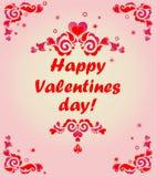 Tarjeta de felicitación para el día de tarjetas del día de San Valentín Fotos de archivo