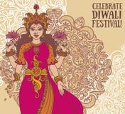 Tarjeta de felicitación para el festival del diwali con la diosa india Lakshmi y el ornamento real Imagen de archivo