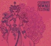 Tarjeta de felicitación para el festival del diwali con la diosa india Lakshmi y el ornamento real Fotos de archivo libres de regalías