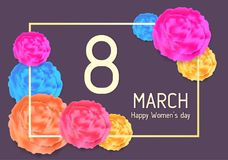 Tarjeta de felicitación para el 8 de marzo con las flores abstractas Foto de archivo libre de regalías