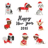 Tarjeta de felicitación para 2018 Feliz Año Nuevo Perros en los trajes Santa Claus Imágenes de archivo libres de regalías