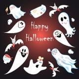 Tarjeta de felicitación para Halloween con los fantasmas Imagen de archivo libre de regalías