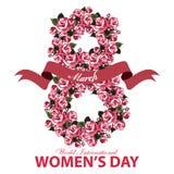 Tarjeta de felicitación para la bandera del día de las mujeres con el número ocho de flores y de cinta de las rosas en el fondo b Imagen de archivo