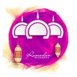 Tarjeta de felicitación para la celebración de Ramadan Kareem Imágenes de archivo libres de regalías