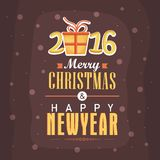 Tarjeta de felicitación para la celebración del Año Nuevo 2016 y de la Navidad Fotografía de archivo