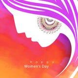 Tarjeta de felicitación para la celebración del día de las mujeres Fotografía de archivo