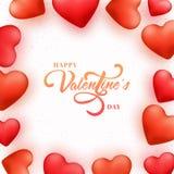 Tarjeta de felicitación para la celebración del día del ` s de la tarjeta del día de San Valentín Imágenes de archivo libres de regalías
