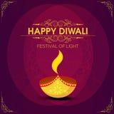 Tarjeta de felicitación para la celebración feliz de Diwali Imagen de archivo