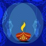 Tarjeta de felicitación para la celebración feliz de Diwali Imagenes de archivo