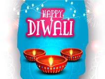 Tarjeta de felicitación para la celebración feliz de Diwali Fotografía de archivo